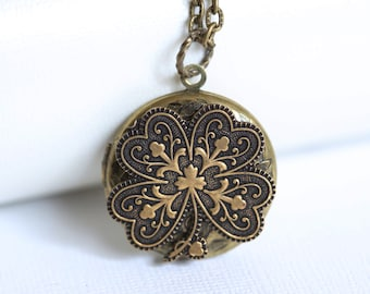 Irish Shamrock Brass Locket,Locket,Four Leaf Clover Locket,Antique Locket,Luck,Irish,Wedding Necklace,bridesmaid necklace