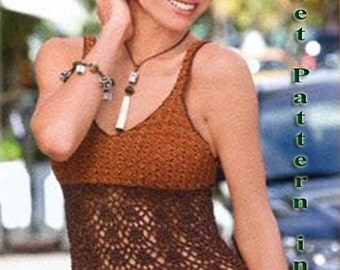 Woman Crochet Pattern in pdf, top, Cover up, topless .