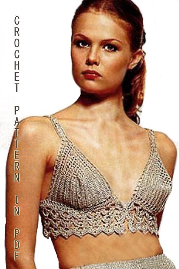 Woman Crochet Bikini  top Pattern  in PDF Files.