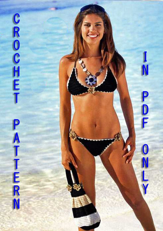 Woman Crochet Bikini set with handbag Pattern only with written instruction and diagrams in Pdf files.