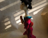 A Japanese soft sculpture Art doll..wears kimono...needle wool felted...