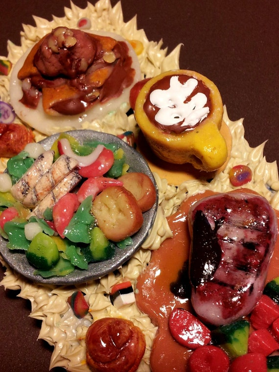 Don't eat....this is a 3D i phone 4 case with clay miniature food/ set dinner....