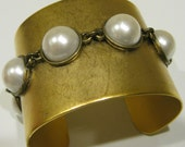 """2"""" Matte Gold with Faux Pearl Cuff Bracelet  """"PearlZ"""""""