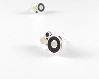Sterling Silver Earrings, Black and White  Bubbles, Ear Studs, Modern, Contemporary