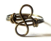 Wire Wrapped Infinity Ring, Custom Size Antique Brass Promise Ring