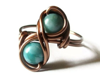 Turquoise Infinity Ring Custom Size Boho Jewelry, Antique Copper Jewelry