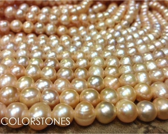 15.5 inch 9 to 10 mm Large Hole Freshwater Pearl Potato Beads - Peach - 2.5 mm hole (G2143P55)