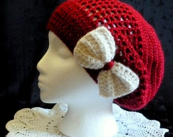 Slouchy Beanie, Slouch Hat, Crochet Hat, Slouch Hat with Bow - Hand Crocheted - Red Wine
