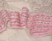 French Inspired Trim, Vintage Rose Ribbon,  Shabby Chic Country Rose Ribbon, French Market Inspired Hand Distressed Ribbon ECS