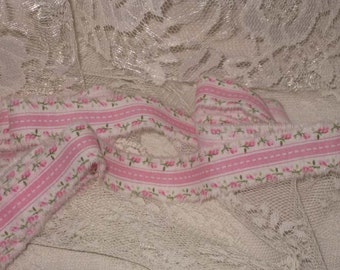 Vintage Rose Ribbon Shabby Chic Country Rose French Market Inspired Hand Distressed Ribbon VR004