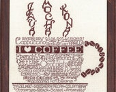 LET'S DO COFFEE - Imaginating Cross Stitch Pattern - I love coffee cup counted cross stitch needlework pattern chart coffee cross stitch