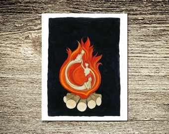 Fire Beings Black Orange Red Brown Fine Illustration Art Print