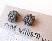 Crochet Post Rosette Earrings in Dark Gray