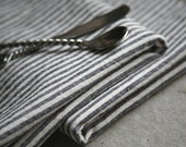 8 Organic Stripe Napkins - Organic Cotton and Hemp Eco Cloth // Choice of Single Accent Color - TallPineStudio