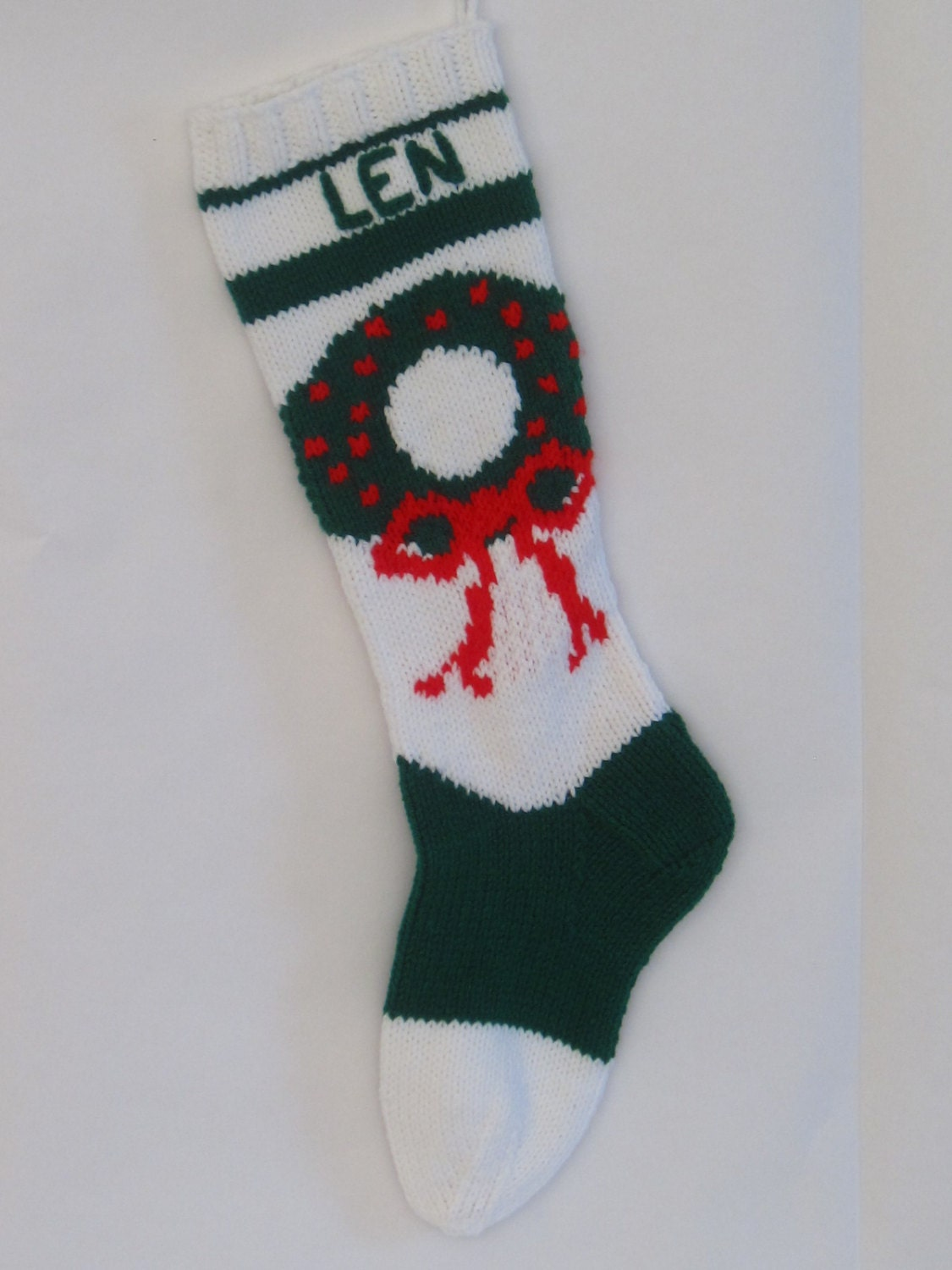 Personalized Knitted Christmas Wreath Stocking