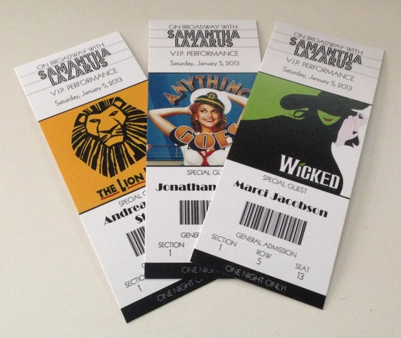 Broadway Show Wedding ticket place cards DEPOSIT especially