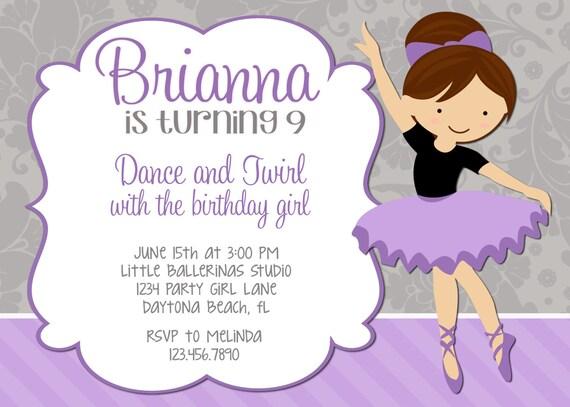 Ballerina Birthday Invitations gangcraftnet