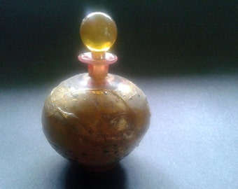 Vintage German Golden Art Glass Perfume Bottle