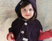 Girl's Cape, Eco Friendly, Upcycled Purple Corduroy, One of a Kind