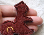 Squirrel Brooch, Pin Back Button, Pin: Eco friendly, Upcycled - remainewicked