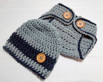 Baby boy hat and diaper cover Crocheted in Grey with Deep Navy.