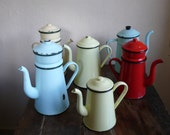French vintage enamel coffee pot, biggin, red, yellow, green, lemon, shabby chic, french country home