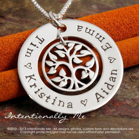 Personalized Mommy Jewelry - Hand Stamped Family Tree Necklace - Sterling Silver - My Family Deluxe  (Small Washer)