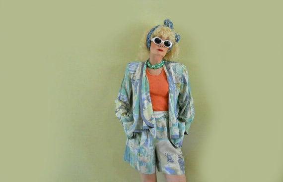 80s Jacket & Shorts Rayon Outfit - Swing Jacket