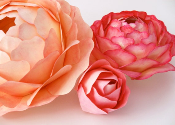 Unavailable listing on etsy for Painted paper flowers