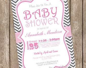 Pink and Gray girl baby shower invitation, chevron, pink, grey, typography, chevron invitation, printable invitation