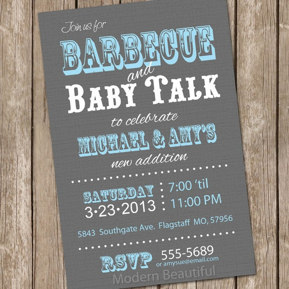 barbecue baby shower invitation bbq baby shower invitation grey