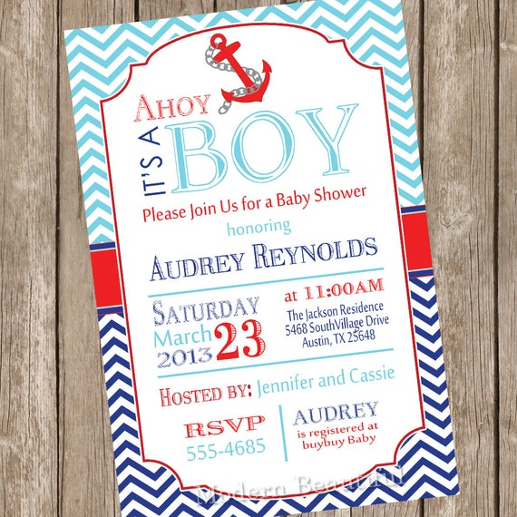 chevron ahoy it 39 s a boy baby shower invitation blue red navy