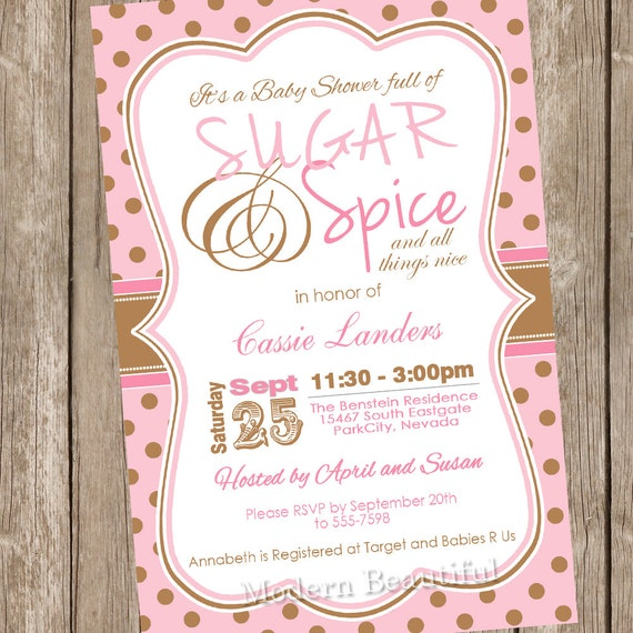 Polka dot Sugar and spice girl baby shower invitation pink brown