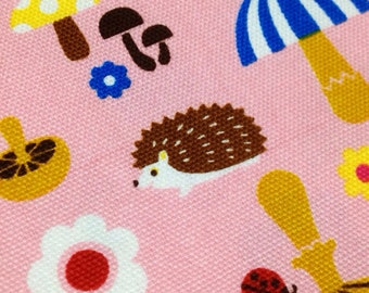 1 yard mushroom and animal print fabric hedgehog printed pink  color fabric