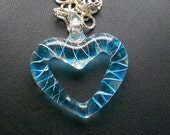 Blue Striped Glass Heart Pendant on Sterling Chain - artsix