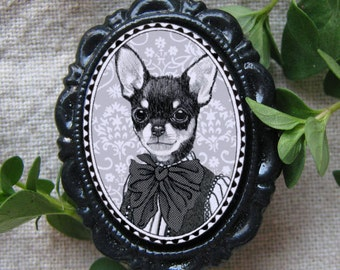 victorian style chihuahua brooch - resin cameo - black and white girl dog portrait