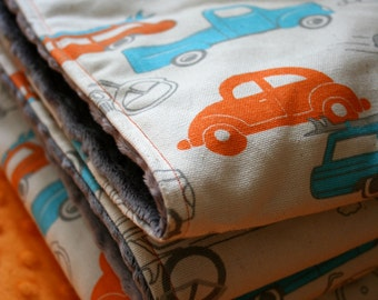 Retro Cars and Minky Toddler Size Blanket, Made to Order