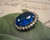 Vintage Brooch Pendant Cobalt Blue Faceted Glass Rhinestone Pin Brooch Jewelry