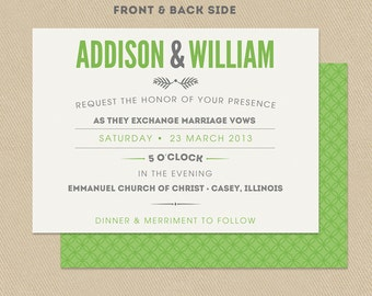 Printable Wedding Invitation Double Sided 5x7 Modern Green and Gray