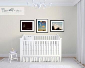 Nursery art decor, set of 3 collection, typographic 11x14 fine art prints