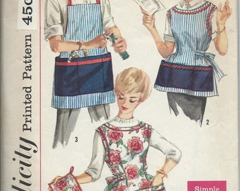 1960's Simplicity Sewing Pattern No. 3206 : Mens and Womens Matching Aprons , Barbecue Apron  Size M