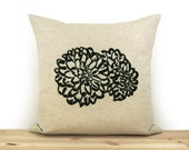 Decorative Pillow Cover 16x16 inches with Floral Botanical Art Print | Black, Natural Beige and Geometric Pattern Accent
