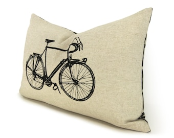 12x18 inches Vintage Bicycle Lumbar Pillow Case, Cushion Cover | Black & Natural Beige Geometric Greek Key Accent | Industrial Home Decor