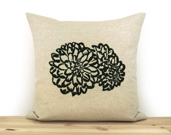 16x16 or 12x18 Decorative Pillow Case | Floral Botanical Cushion Cover | Black Flower Print and Natural Beige Geometric Greek Key Pillows