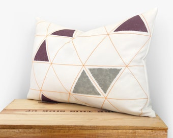 Minimalist and geometric pillow cover - Tangerine, grey, plum and white hand printed triangle pattern - 12x18 lumbar decorative pillow case