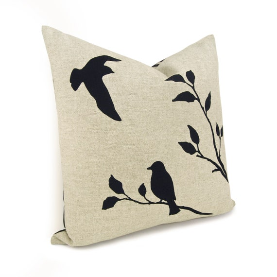 Love birds pillow case, 16x16 pillow cover, Shabby chic home decor - Black birds in nature print on natural beige canvas and geometric back