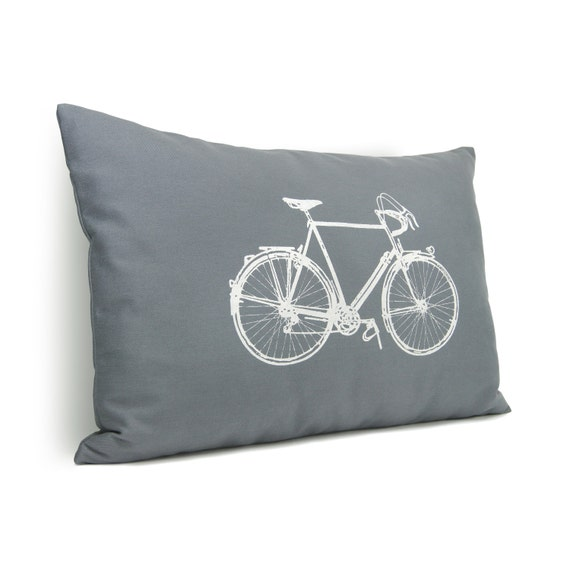 Gray and white decorative pillow cover - White vintage bicycle print on medium grey twill fabric - 12x18 lumbar pillow cover