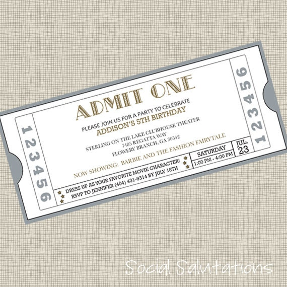 printable movie ticket party invitation