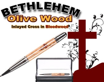 Handmade wooden writing pen inlayed with a cross - Handcrafted  Bethlehem Olive Wood - imported from Holy Land - unique gift for priest