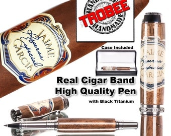 Executive gift for the smoker. Cigar pen made with a real band from a Jaime Garcia Reserva Especial